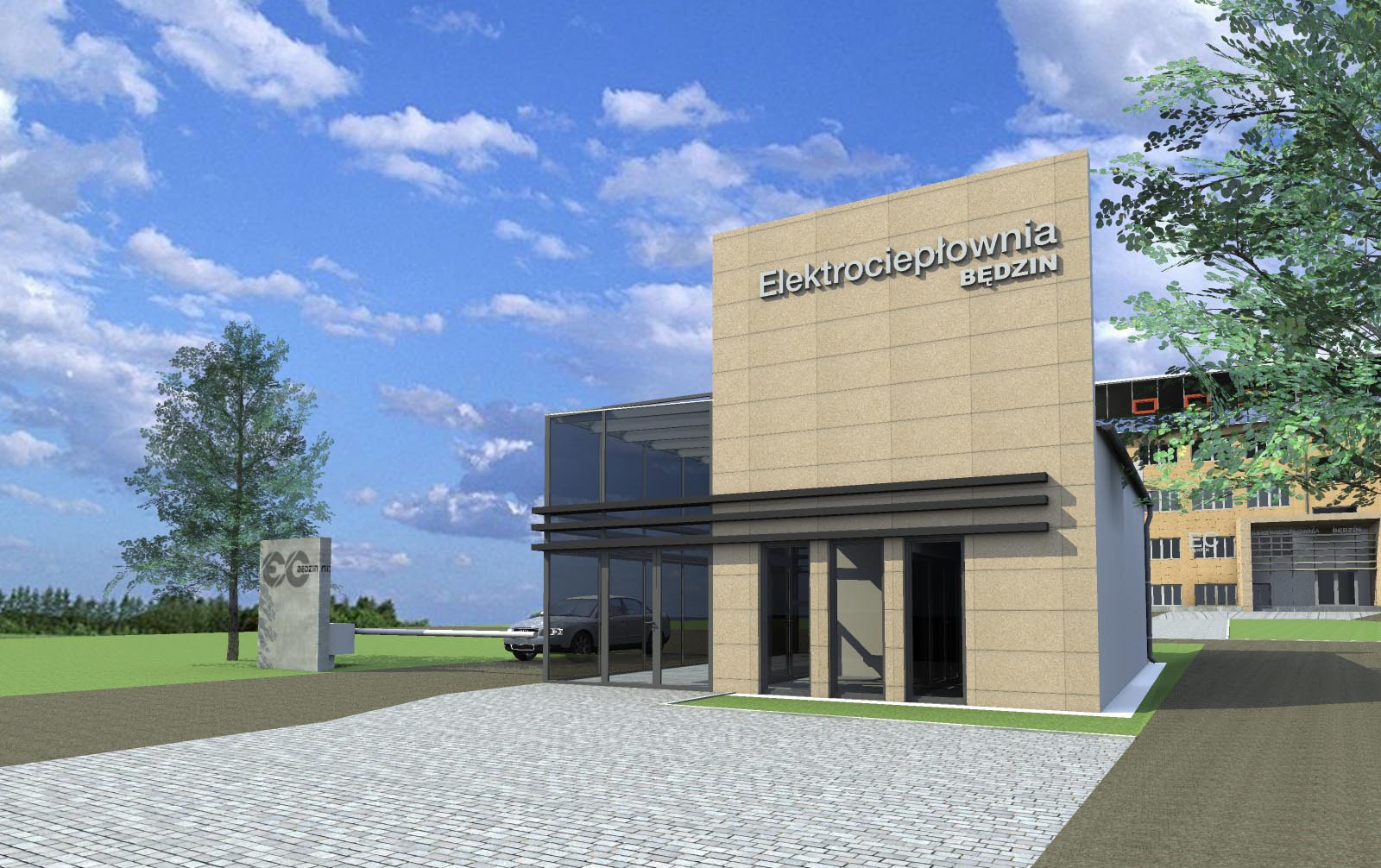 Modernizacja elewacji budynku biurowego oraz przebudowa dwóch portiernii na terenie obiektu Elektrociepłowni Będzin S.A.