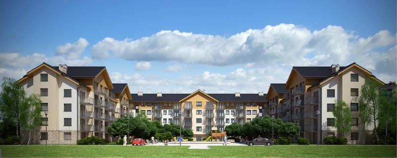 Osiedle budynków wielorodzinnych i jednorodzinnych w zabudowie szeregowej
